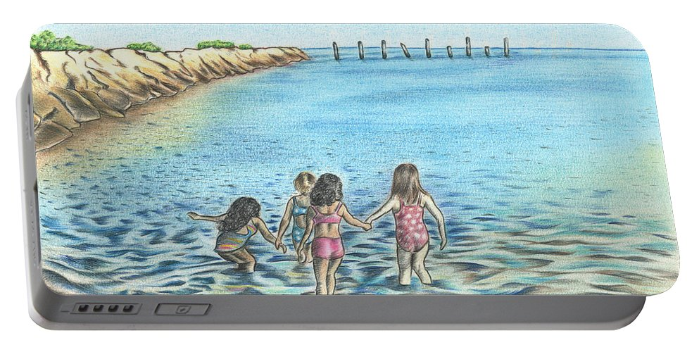 Water Portable Battery Charger featuring the drawing Best Friends by Troy Levesque