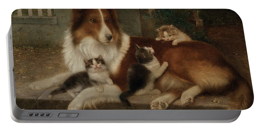 Best Of Friends Portable Battery Charger featuring the painting Best Of Friends by Wilhelm Schwar