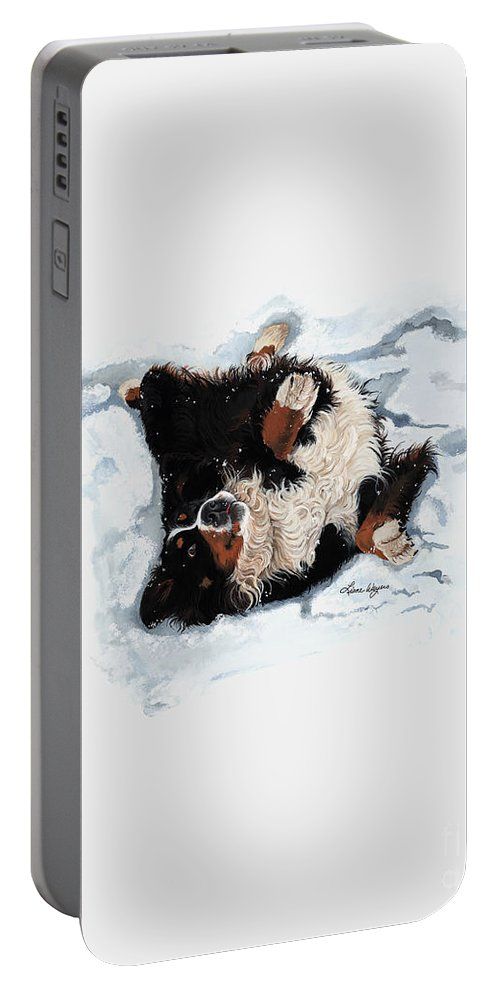 Berners Know How To Make The Best Snow Angels Portable Battery Charger featuring the painting Best Snow Angel Phone by Liane Weyers
