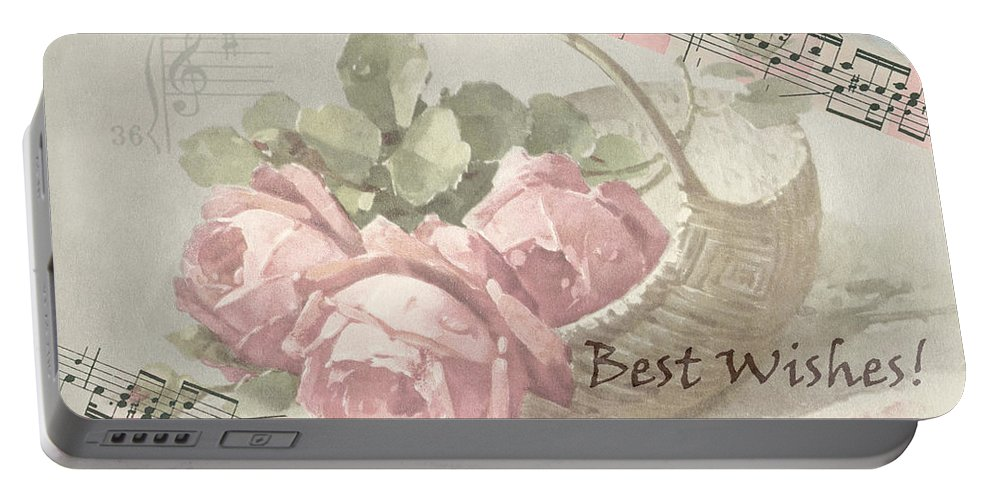 Best Wishes Card Portable Battery Charger featuring the digital art Best Wishes Vintage Roses Card by Sandra Foster