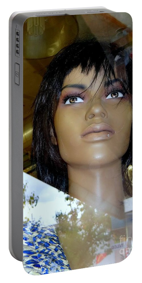 Mannequins Portable Battery Charger featuring the photograph Bethany In Bangs by Ed Weidman