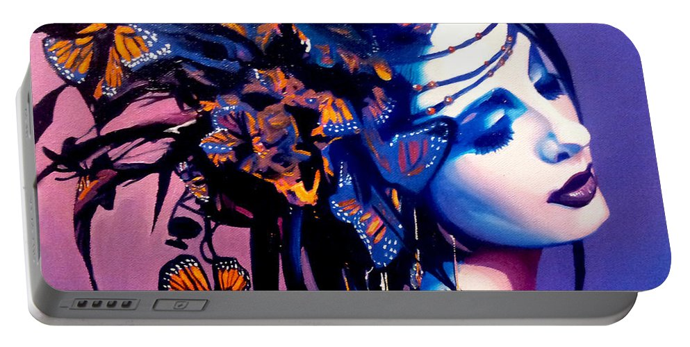 Butterflies Portable Battery Charger featuring the painting Betty by Jose Manuel Abraham