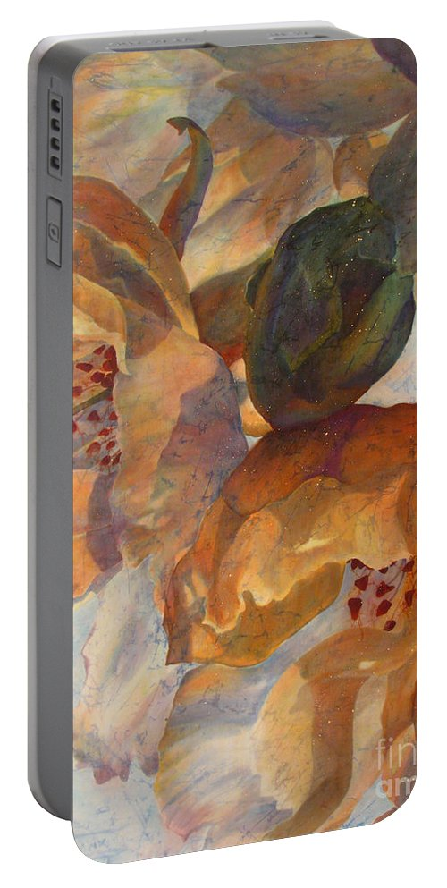 Flower Portable Battery Charger featuring the painting Bev's Blossoms by Deborah Younglao