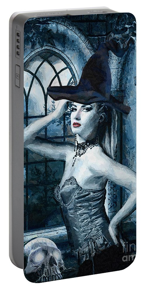Bewitched Portable Battery Charger featuring the painting Bewitched by Mo T