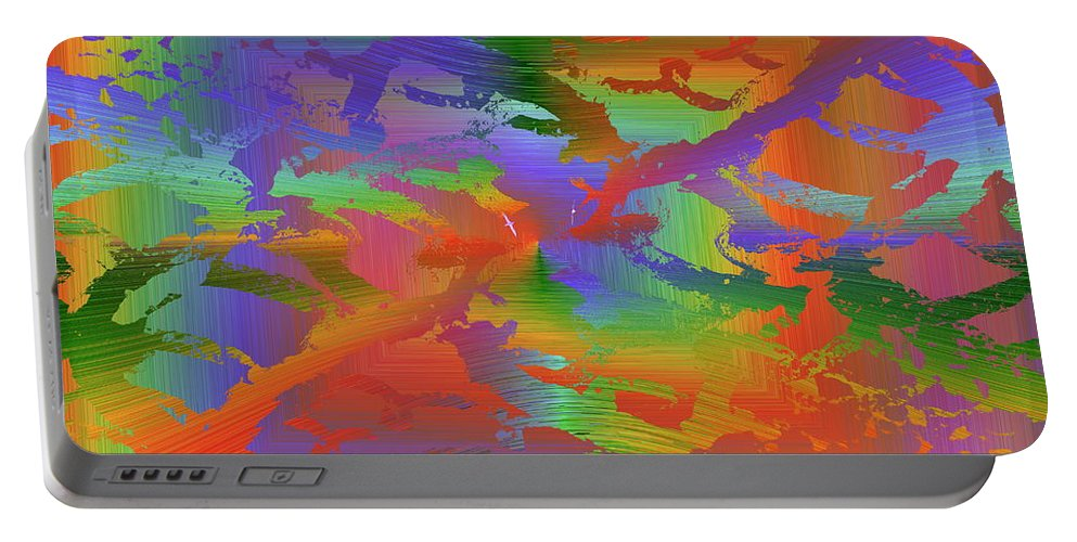 Abstract Portable Battery Charger featuring the digital art Beyond The Albatross Rainbow by Tim Allen