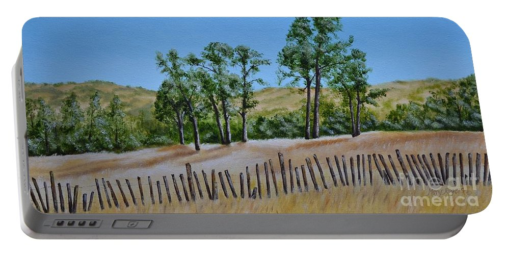 California Portable Battery Charger featuring the painting Beyond The Fence by Mary Rogers