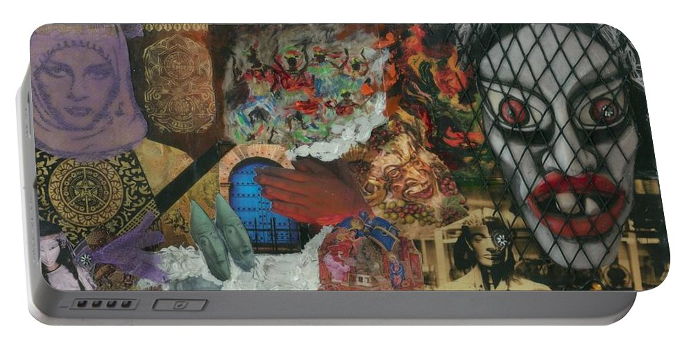 Women Portable Battery Charger featuring the mixed media Beyond The Mask by Paula Emery