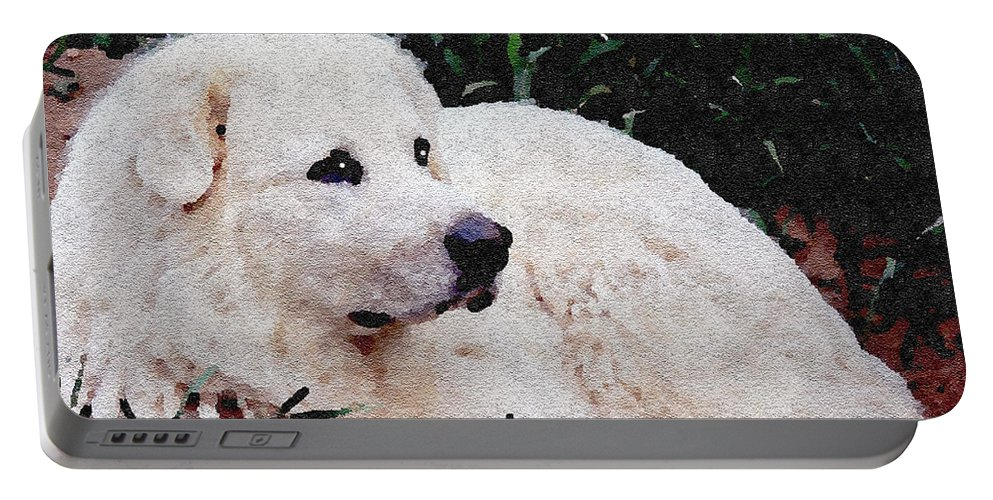 Dog Portable Battery Charger featuring the photograph Bianca - White Beauty by Ericamaxine Price