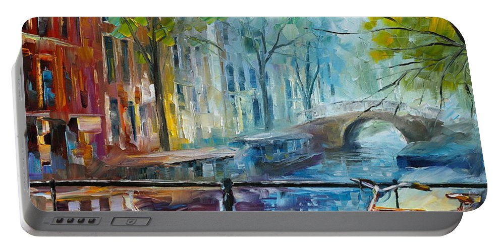 Amsterdam Portable Battery Charger featuring the painting Bicycle in Amsterdam by Leonid Afremov