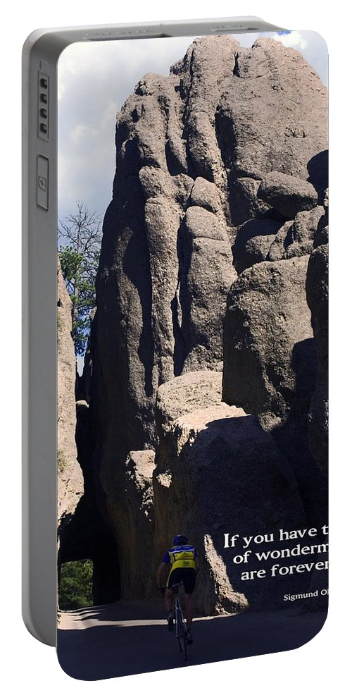 Bicyclist Pedaling Portable Battery Charger featuring the photograph Bicyclist And Granite Spires by Sally Weigand