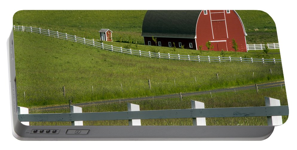 Palouse Area Portable Battery Charger featuring the photograph Big Barn Little Companion by Bob Phillips