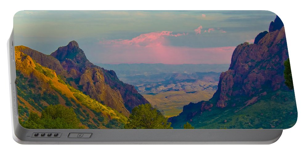 Big Bend Portable Battery Charger featuring the photograph Big Bend Texas From The Chisos Mountain Lodge by Gary Grayson