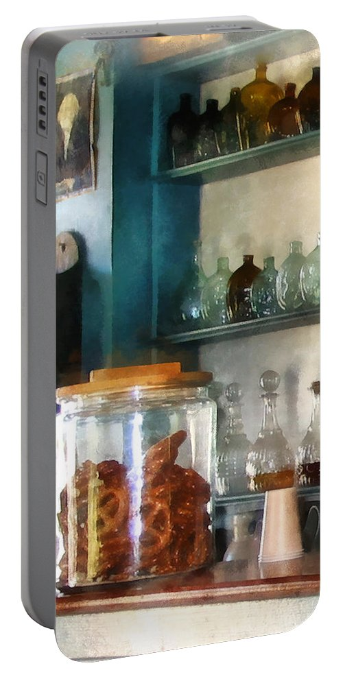 Pretzel Portable Battery Charger featuring the photograph Big Jar Of Pretzels by Susan Savad
