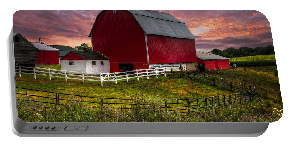 Appalachia Portable Battery Charger featuring the photograph Big Red At Sunset by Debra and Dave Vanderlaan
