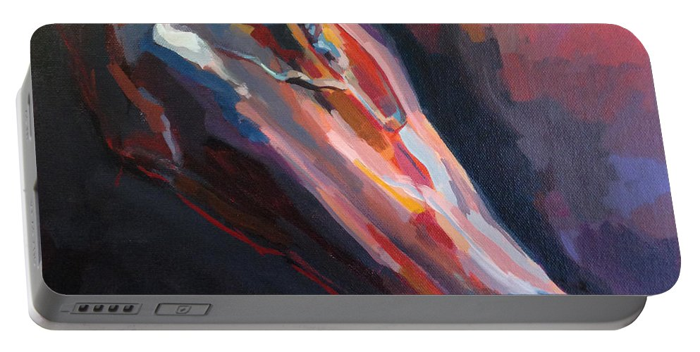 Thoroughbred Portable Battery Charger featuring the painting Big Red by Kimberly Santini