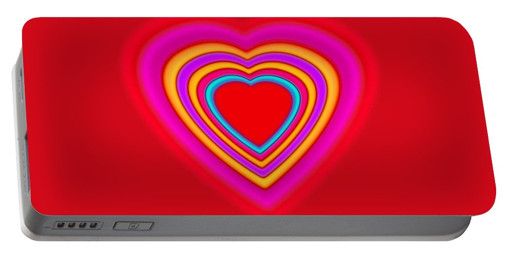 Love Portable Battery Charger featuring the painting Big Red Love by Charles Stuart