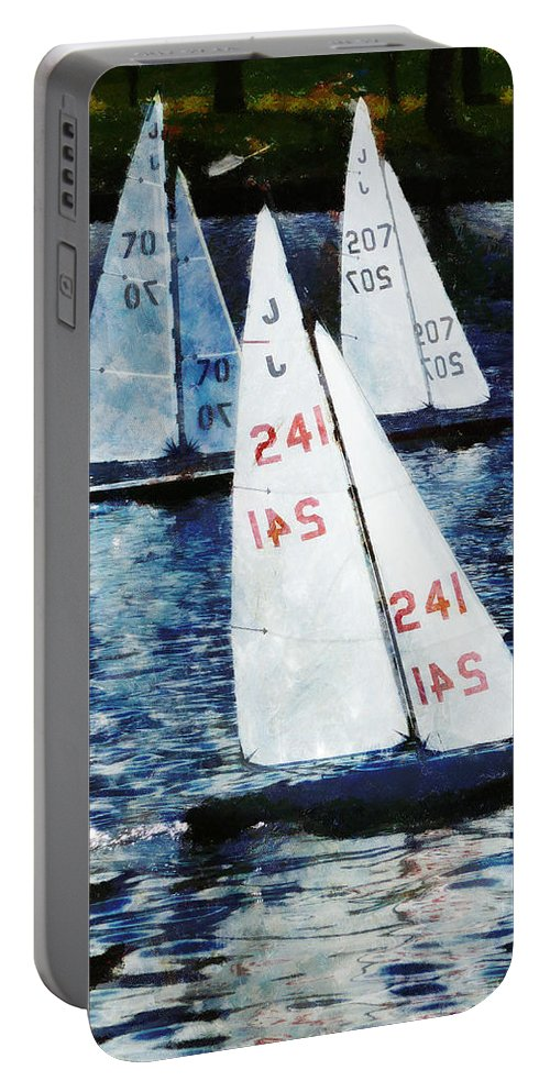 Model Portable Battery Charger featuring the photograph Big Sailors And Little Boats by Steve Taylor