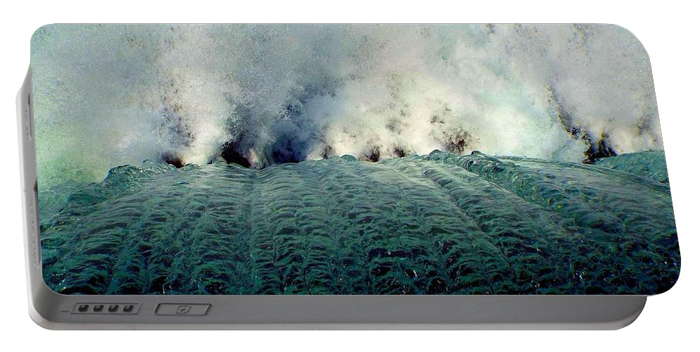 Mammoth Springs Portable Battery Charger featuring the photograph Big Splash Of Mammoth Springs Dam by Cynthia Croal