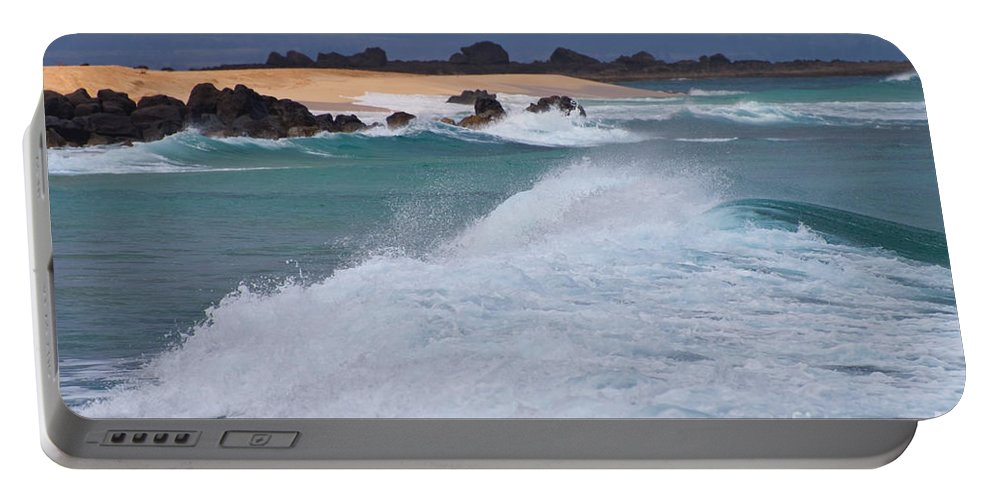 North Shore Oahu Hawaii Rock Rocks Wave Waves Water Waterscape Waterscapes Pacific Ocean Oceans Sea Seas Sand Beach Beaches Portable Battery Charger featuring the photograph Big Wave Waterscape by Bob Phillips
