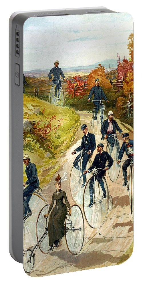 Big Wheel Bicycles Portable Battery Charger featuring the digital art Big Wheel Bicycles by Unknown