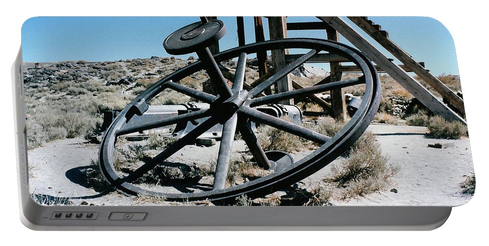 Big Wheel Bodie Portable Battery Charger featuring the digital art Big Wheel Bodie by Barbara Snyder