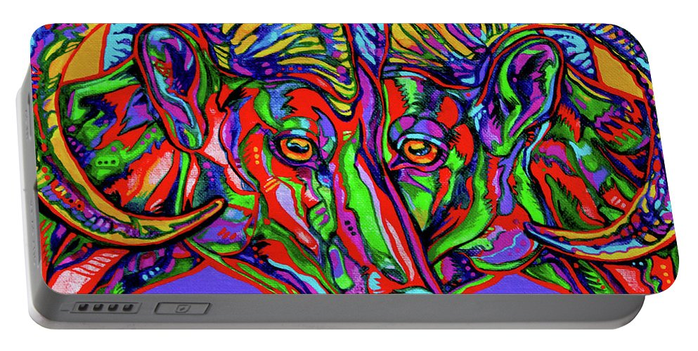 Contemporary Art Portable Battery Charger featuring the painting Bighorn Sheep by Derrick Higgins