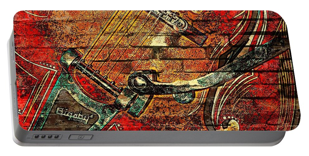 Music Portable Battery Charger featuring the photograph Bigsby Faux Mural by Chris Berry