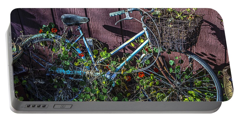 Bike Portable Battery Charger featuring the photograph Bike In The Vines by Garry Gay
