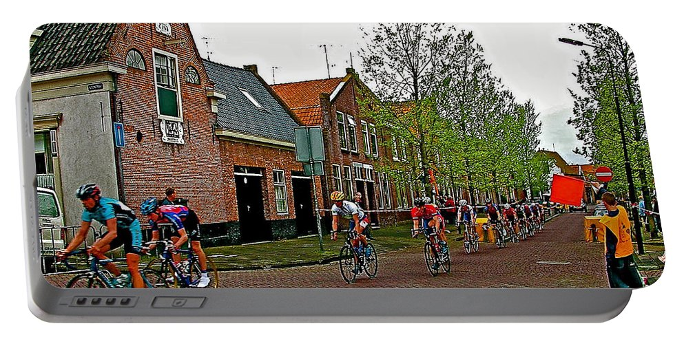 Bike Race On Orange Day In Enkhuizen Portable Battery Charger featuring the photograph Bike Race On Orange Day In Enkhuizen-netherlands by Ruth Hager