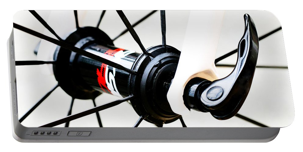 Bike Photos Portable Battery Charger featuring the photograph Bike Spokes by Tap On Photo