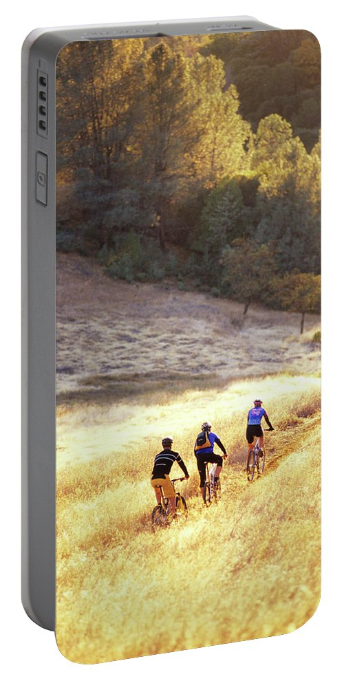 Action Portable Battery Charger featuring the photograph Bikers On Foresthill Divide Trail by Scott Markewitz