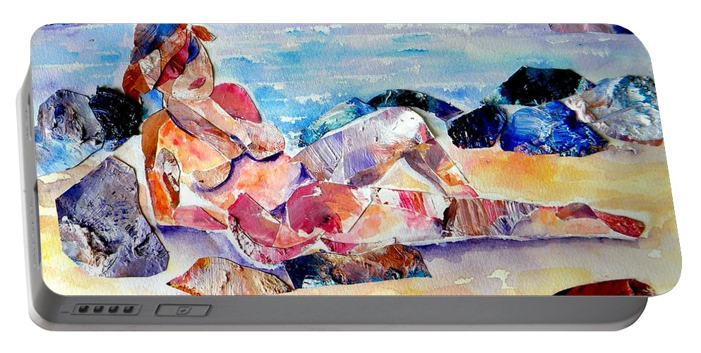 Beach Portable Battery Charger featuring the mixed media Bikini In Paradise by Sandy Ryan