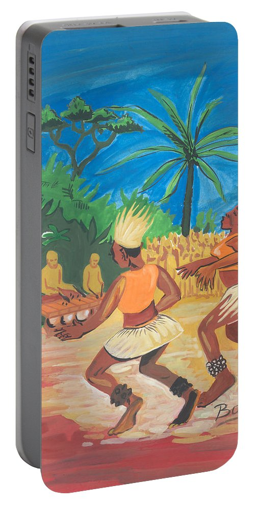 Barry Art Portable Battery Charger featuring the painting Bikutsi Dance 2 From Cameroon by Emmanuel Baliyanga