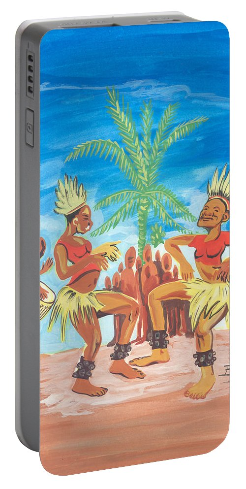 African Art Portable Battery Charger featuring the painting Bikutsi Dance 3 From Cameroon by Emmanuel Baliyanga