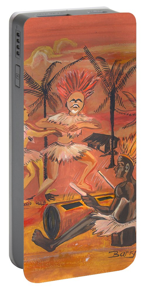 Barry Art Portable Battery Charger featuring the painting Bikutsi Dance From Cameroon by Emmanuel Baliyanga