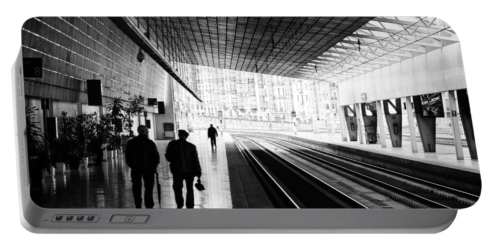 Train Portable Battery Charger featuring the photograph Bilbao Train Station by Pablo Lopez