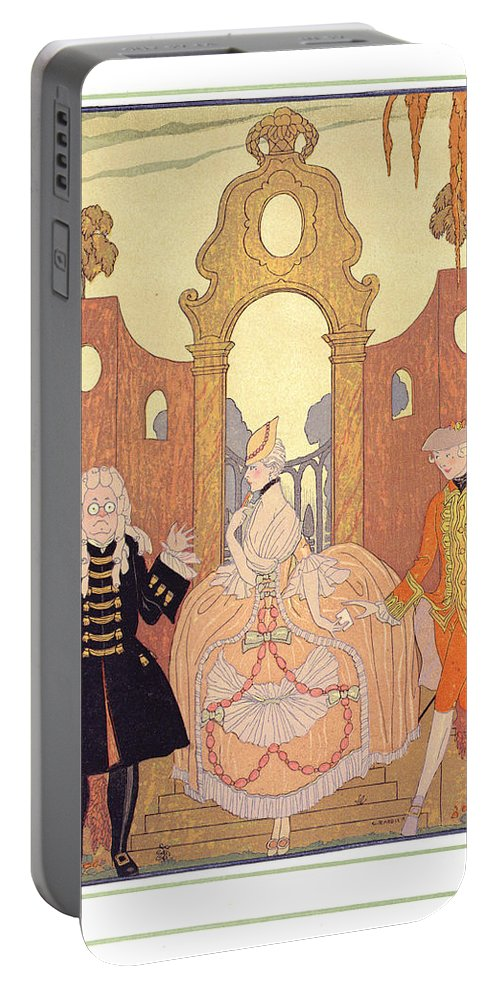 Secret Portable Battery Charger featuring the painting 'billet Doux' by Georges Barbier