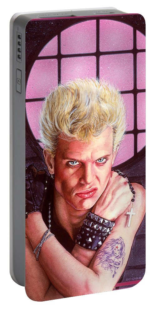 Billy Idol Portable Battery Charger featuring the painting Billy Idol by Timothy Scoggins