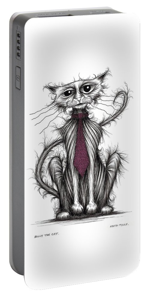 Cat Portable Battery Charger featuring the drawing Billy The Cat by Keith Mills