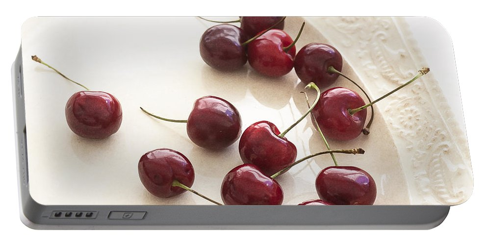 Cherries Portable Battery Charger featuring the photograph Bing Cherries And White Plate by Rich Franco