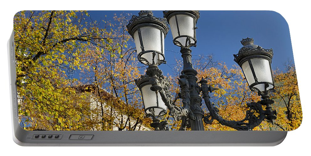 Streetlight Portable Battery Charger featuring the photograph Bip Rambla Streetlight by Guido Montanes Castillo