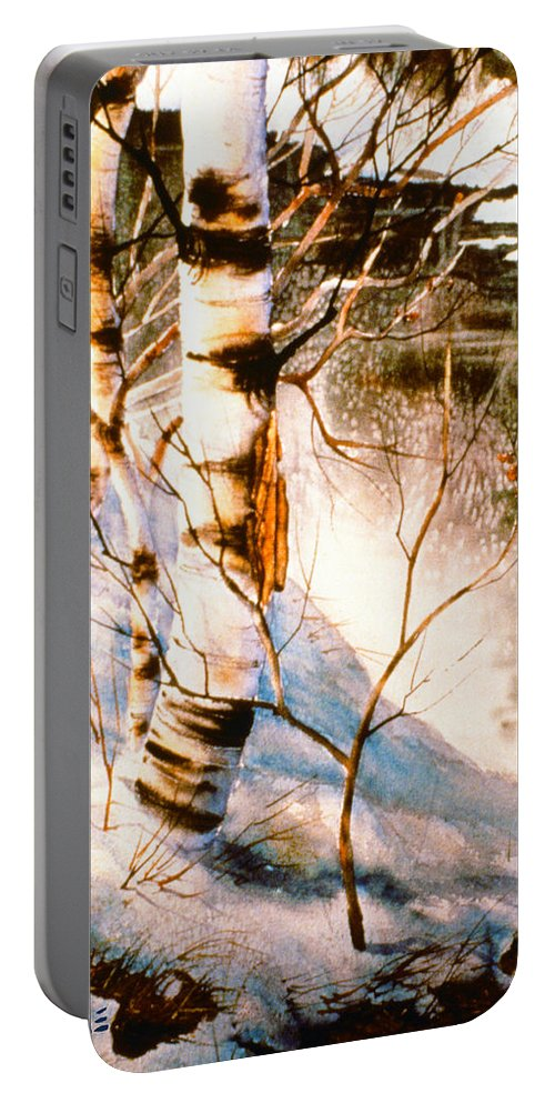 Birch By Stream Portable Battery Charger featuring the painting Birch By Stream by Teresa Ascone