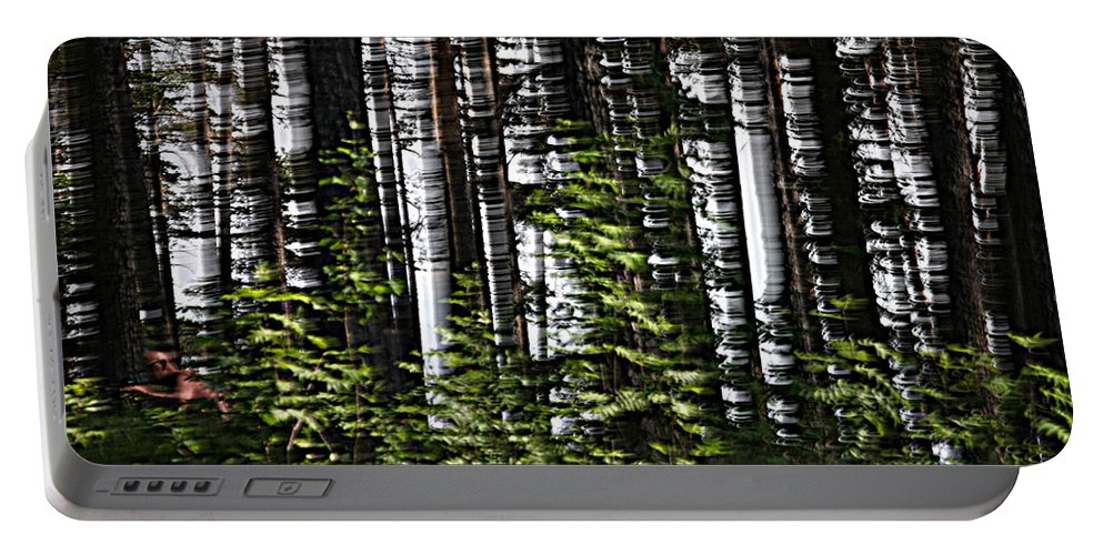 Camera Motion Portable Battery Charger featuring the photograph Birch Illusion by Dreamland Media