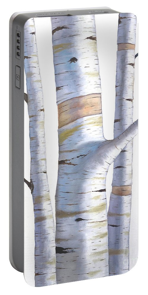 Birch Portable Battery Charger featuring the painting Birch Trees In Three by Christopher Shellhammer