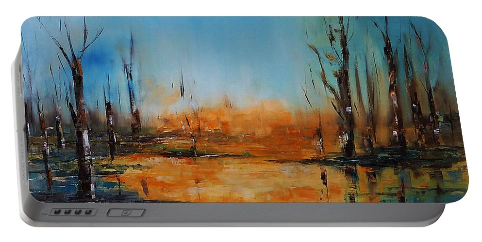 Birches Portable Battery Charger featuring the painting Birches Pond by AmaS Art