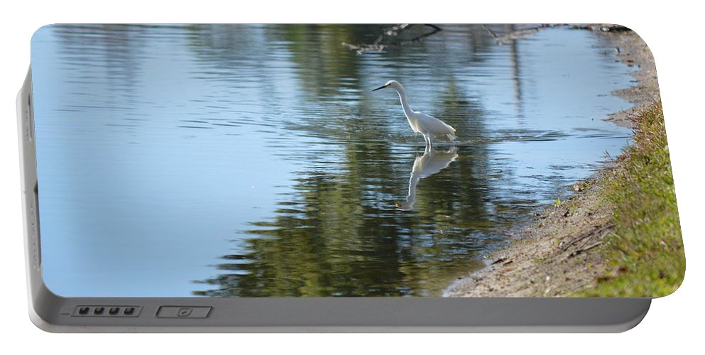 Florida Portable Battery Charger featuring the photograph Bird And Pond by Linda Kerkau
