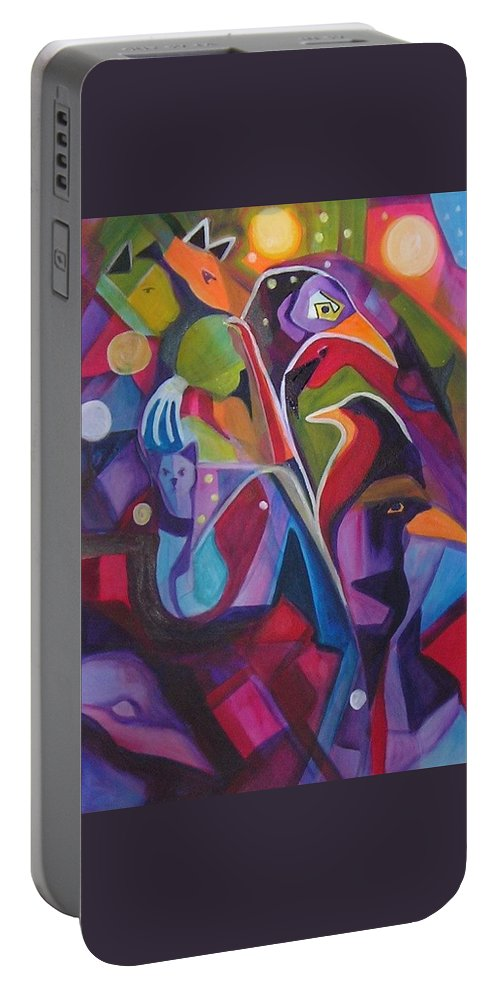 Expressionism Portable Battery Charger featuring the painting Bird Dreams by Carolyn LeGrand