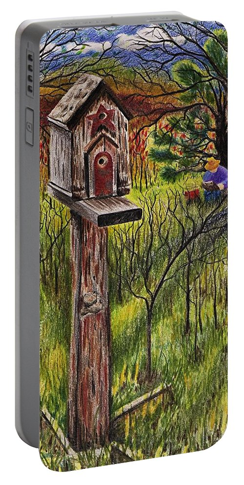 Bird House Portable Battery Charger featuring the drawing Bird House by Joy Bradley