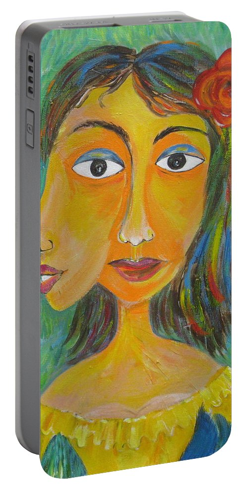 Surreal Portable Battery Charger featuring the painting Bird In The Hand  Detail by Sue Wright