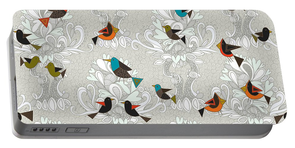 Birds Portable Battery Charger featuring the drawing Bird Love Trees by MGL Meiklejohn Graphics Licensing